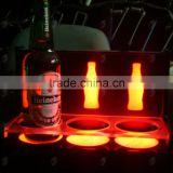 Acrylic illuminated led bottle base for 3 bottles, lighting liquor bottle display                                                                         Quality Choice