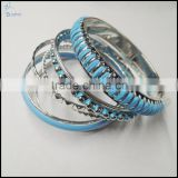 Rhodium plate blue plainting 8pcs set couple bangles