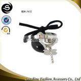 Ribbon knot ring butterfly pendant ring black stone silver ring