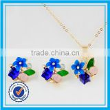 royal blue bridal jewellery sapphire beads necklace sets 18k gold full jewelry set