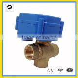 CR01 12 24v 3way brass/ss304 electrical ball valve CWX-15 for water flow control