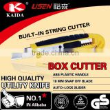 18mm Snap Off Blade Plastic with rubber grip handle safety box cutter knives for industrial