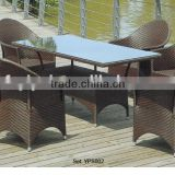 outdoor restaurant party furniture long dining glass table and chairs rattan garden set YPS002