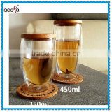 Borosilicate Double Wall Glass Tea Cups With Bamboo Cover                                                                         Quality Choice