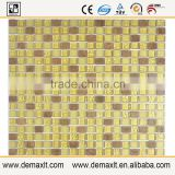 X3 sunflower golden crystal glass mix marble mosaic tile for bar wall