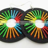 Colored thread wood earring,Fashion black wood earring,New design jewelry 2013
