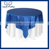 TL014B Wholesale Cheap discount elegant polyester plain satin blue wedding table overlay