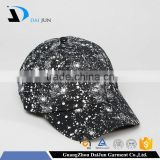 China Factory Daijun New Design OEM High Quality 100%cotton Curved Black Splatter Print Men Custom Baseball Cap Rack