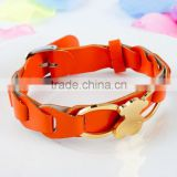 2015 fashion gold plated bear bracelet charms orange leather bracelet