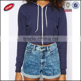 newest fashion plain cropped top hoodie with twin pocket drawstring neck and fast through zipper for ladies