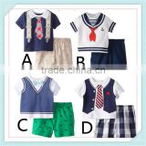 New Summer Baby Boy Clothes Short Sleeve Striped Vest Shirt + Shorts Kids Clothing Sport Suit