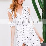 Ruffle cold shoulder polkadot print summer dress Vintage irregular bow wrap short dress Women chic chiffon white dress