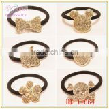 Fashion crystal studded skull shaped elastic hair band,apple shaped hair tie with rhinestone