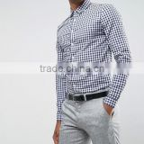China Factory Custom Fancy Simple Black and White Design Formal Dress Men's Check Shirts