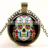 XP-TGN-S-108 Fashion Mandala Time Gemstone Pendant Charm Dome Silver Skull Cabochon Necklace For Ladies