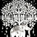 Elephant design black and white shade European wholesale indian tapestry wall hangings bed sheet throw