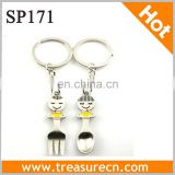 2014 Lovely Cartoon Metal Fork&Spoon With Key Ring