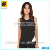 2016 Summer Latest Designs Clothing Famous Design Sleeveless Color Block Asymetrical Blouse