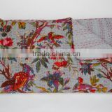 Tropical Bird King Size Quilt Handstiched Old Vintage Kantha Quilt Indian Throw Ralli GUDARI