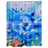 Hotel decorative shower curtain, beach series design shower curtain, digital printing shower curtain
