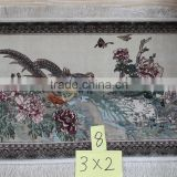 3X2 foot 400lines silk tapestry wall carpet flower design decorative indian cotton dhurrie rug