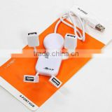 Cute 4 Port Hub High-Speed USB 2.0 Humanoid Splitter Cable Adapter for Laptop PC