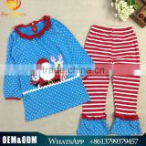 2016 Wholesale children's boutique clothing bule santa claus girls christmas outfits