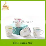 double heart design gold rim ceramic coffee mug with lid/bone china ceramic mugs/coffee mug wholesale