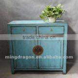 Chinese antique furniture pine wood Shanxi blue two door two drawer cabinet