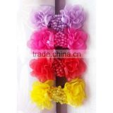 Set of 4 --shabby chiffon flower wholesale-sequin hair bow-butterfly shabby trim
