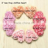 "Beautiful wholesale 3"" Chiffon Fabric Heart Rosett Wedding Flower For The Valentine's Day Baby/Chrildren Hair Accessories"