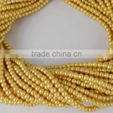 5 Strands 4.5mm Smooth Rondelle Light Yellow Glass Pearl Beads,Acrylic Pearl beads,Bracelet Beads,Yellow Pearlized Beads