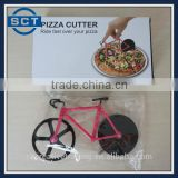 Bike Bicycle Pizza Cutter Slicer Stainless Steel Blade Non Stick Wheels