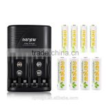 2016 HOT!!! RENEW S2 4Bay Quick Smart AA AAA Battery Charger with 4pcs 2950mAh AA&4pcs 1200mAh AAA Rechargeable Batteries