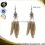Peacock feather earrings with latest big dangling earrings plated in ancient gold costume jewelry earrings made in Yiwu
