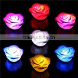 Floating Wax Flowers with Color Changing LED Rose Light