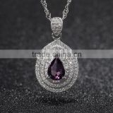 teardrop pendant setting gold plated jewellery zircon cystal prong setting silver pendant necklace