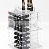 high polish spinning clear acrylic lipstick tower/acrylic lipstick organizer/rotating acrylic lipstick holder