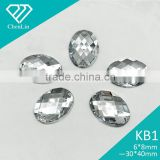 KB1 oval chessbord flat back sew on 2 holes acrylic rhinestones Diamante fashion decoration craft garment bags accessories