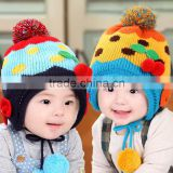 MZ3110 Baby Toddler Girls Boys Winter Warm Hat Hooded Scarf ball Knitted Beanie Cap