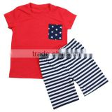 Wholesale 2016 USA STYLE fashion 4 of july boutique outfits plain red shirts and striped bottom shorts baby boys bed set