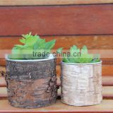 Popular in Amarican Garden Decoration Metal Bark Flower Pot for 2016 outdoor Small Size Metal Bark Flower Pot