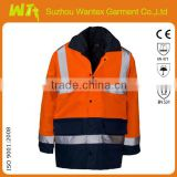 reflective workwear winter jacket heavy warming working clothing protective waterproof jacket