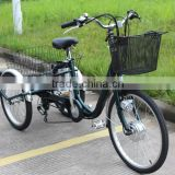 newest fashional 24 inch big electric trike 36V 250W Lithium battery best selling for old people