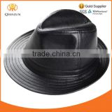 High Quality Men's Leather Black Bucket Cap/ Fedora hat /Gentleman Hat