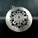 33MM vintage style antiqued silver flower engraved filigree round photo locket pendants DIY supplies 1113017