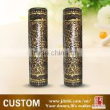 Customize ceramic black cylinder gold metal decorative vases