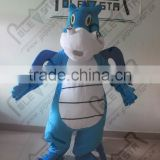 New white belly blue dinosaur cartoon mascot costume