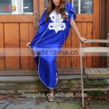 Winter Trends-Blue with White Moroccan Caftan Kaftan -Beach Cover Ups HSD7825