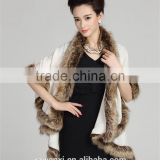 wholesale 2016 new winter latest design fashion knitted faux fox fur pashmina shawl for woman
